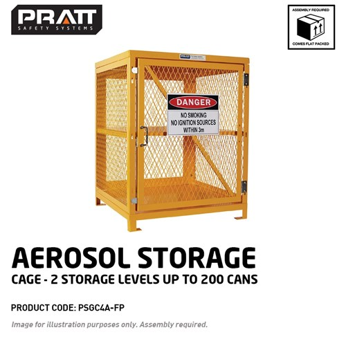 PRATT Aerosol Storage Cage. 2 Storage Levels Up To 200 Cans. (Comes Flat Packed - Assembly Required)